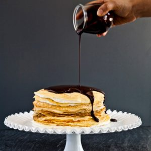 Caramel Crepe Cake With Cream Cheese Frosting