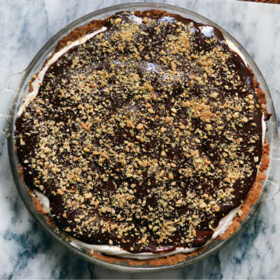 Gluten Free Cup4Cup Chocolate Mascarpone Cheesecake with Peanut Shortbread Crust